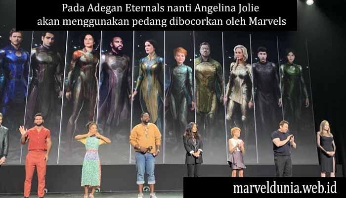Pada Adegan Eternals nanti Angelina Jolie akan menggunakan pedang dibocorkan oleh Marvels